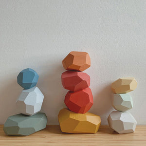 Wooden Colored Stone Jenga Building Block Educational Toy Creative Nordic Rainbow Style Stacking