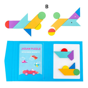 Magnetic 3D Puzzle Jigsaw Tangram Game Montessori Learning Educational Drawing Board Games Toy Gift