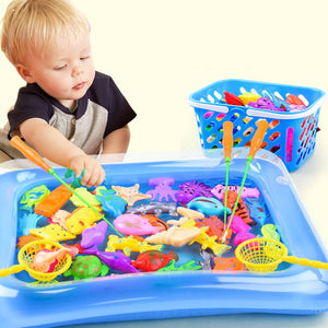 Magnetic Fishing Parent-child interactive Toys Game Kids 1 Rod 1 net 12 3D Fish Baby Bath Toys