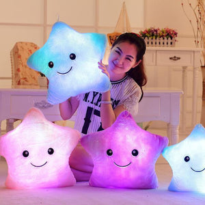 34CM Creative Toy Luminous Pillow Soft Stuffed Plush Glowing Colorful Stars Cushion Led Light Toys