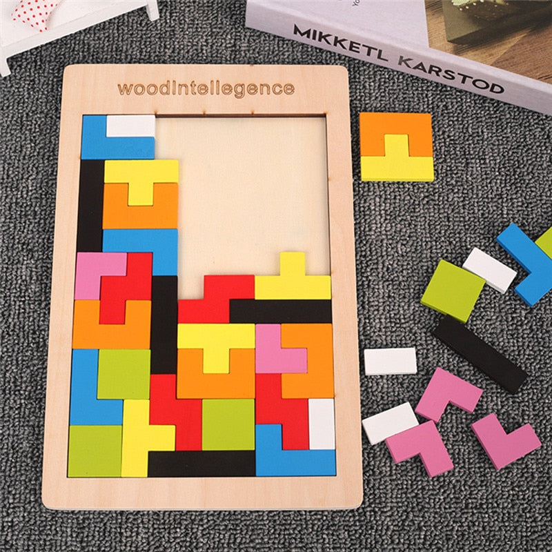 Colorful 3D Puzzle Wooden Tangram Math Tetris Game Children Pre-school Mgaination Educational Toys