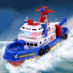 Fast Speed Music Light Electric Marine Rescue Fire Fighting Boat Fire Fighting Ship Toys Non-Remote Toy Kids Children's Day Gift