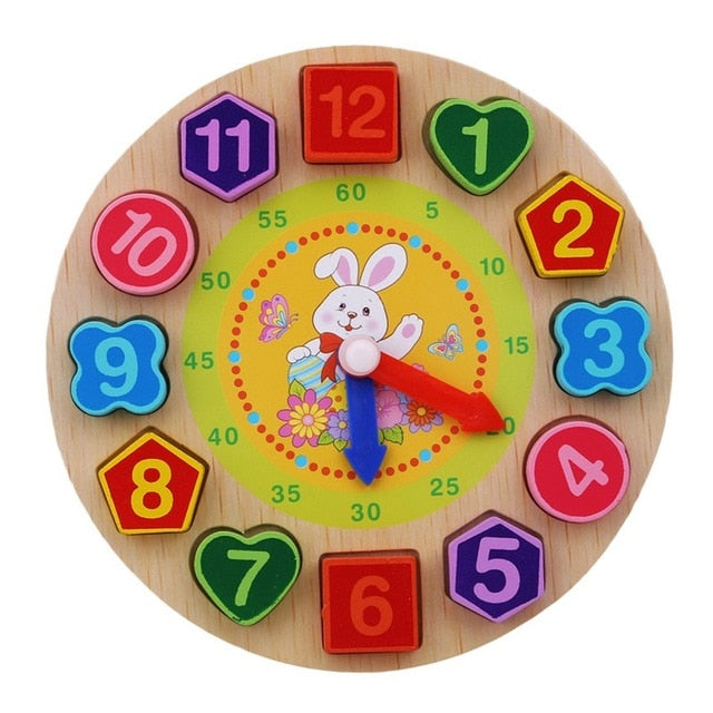 Montessori Cartoon Animal Educational Wooden Beaded Geometry Clock Puzzles Gadgets Matching Clock