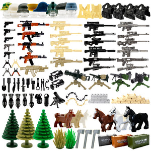 WW2 Military Weapon Building Blocks Pack MOC Army Accessories Soldier Figures Gun City Police SWAT