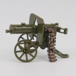 Locking Military WW2 War The Green Heavy Gun with Bullet Building Block Toys Assemble Military Gift
