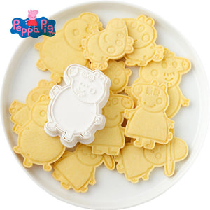 Christmas Peppa Figure Model Cookie Cutters 3d Cartoon Animal Skull Plastic Pressing Baking Cute