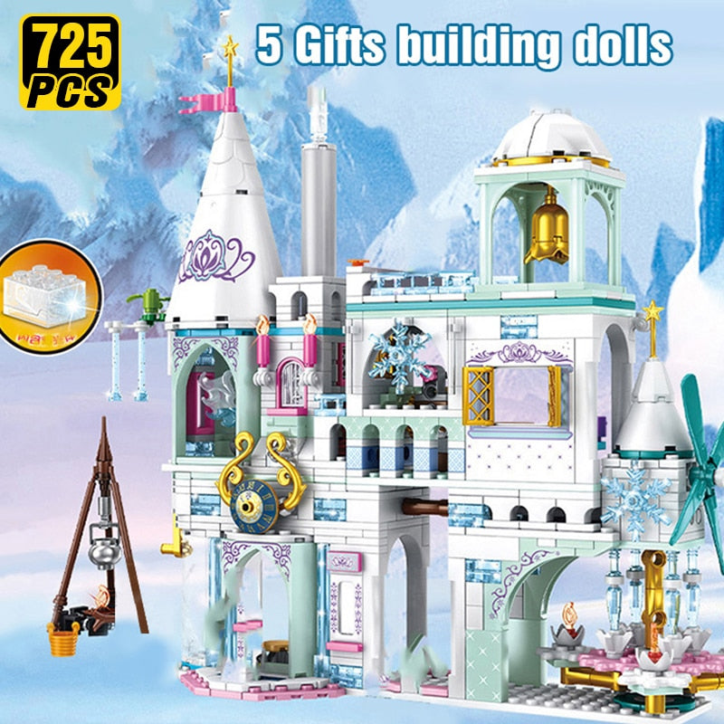 Friends Ice Princess Castle Building Block Christmas Winter Snow House Cartoon  Brick Toys for Girls Toys for Children
