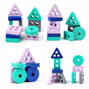 Wooden Montessori Toy Building Blocks Early Learning Educational Toys Color Shape Match Kids Toy