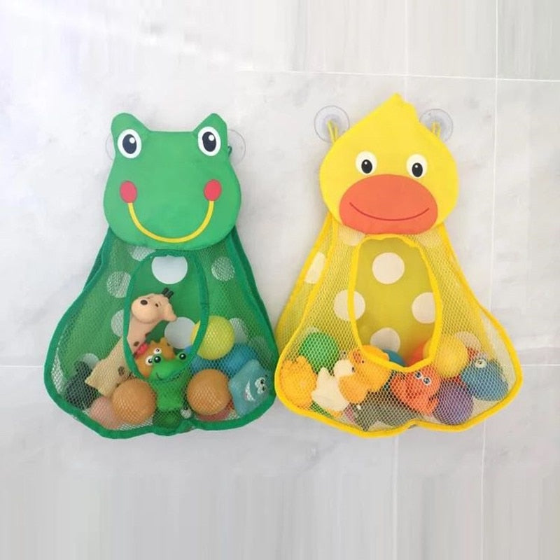 Baby Shower Bath Toys Duck Frog Rabbit Toy Storage Mesh with Strong Suction Cups Bathroom Organizer