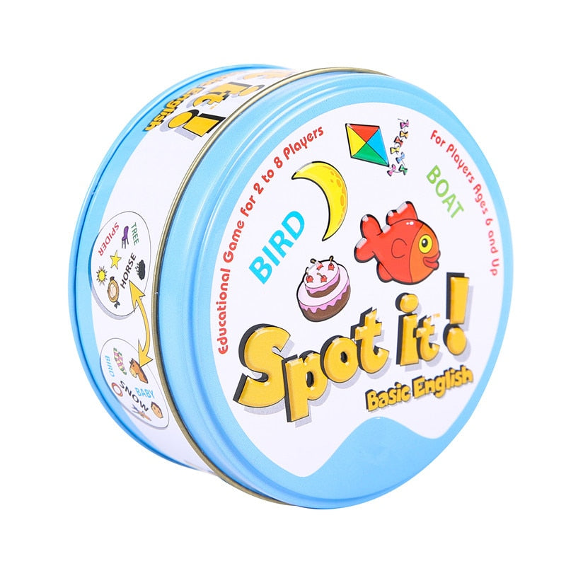 Dobble Card Game Style Spot It Toy Iron Box Sport Go Camping Hip Kids Board Games Animals Alphabet