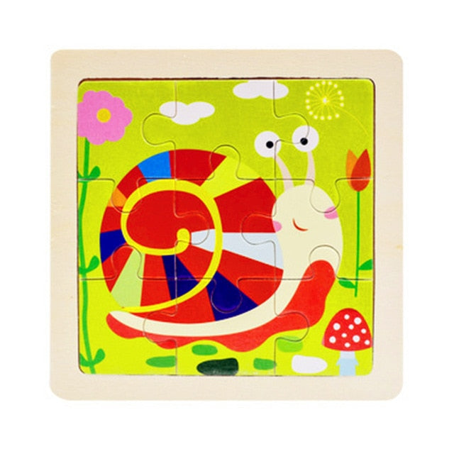 Mini Size 11*11CM Kids Toy Wood Puzzle Wooden 3D Puzzle Jigsaw for Children Cartoon Animal/Traffic