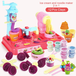 Playdough Clay Dough Plasticine Ice Cream Machine Mould Play Kit Toy Handmade Noodle Maker Kitchen