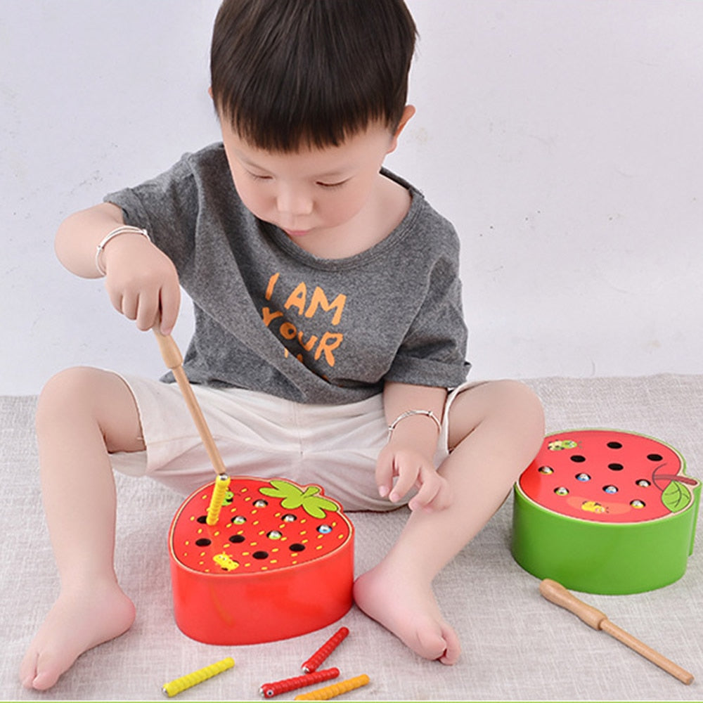 3D Puzzle Baby Wooden Toys Early Educational Catch Worm Color Cognitive Strawberry Grasping Ability