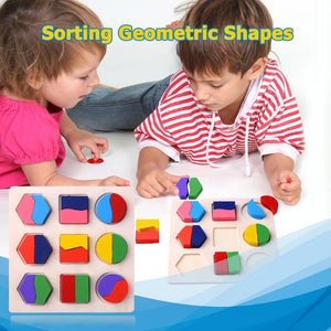 Wooden Geometric Shapes Montessori Puzzle Sorting Math Bricks Preschool Educational Baby Toddler