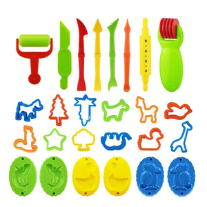 26PCS DIY Slime Plasticine Mold Modeling Clay Kit Slime Plastic Play Dough Tools Set Cutters Moulds