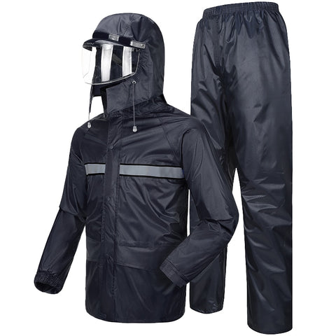 Hooded Coat Rain Pants for Motorcycle Impermeable Waterproof Riding Double Thickening Rainwear Rainstorm Raincoat Set R5C164