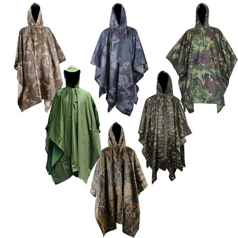Multifunction Military Waterproof Camo Raincoat Rain Coat MenWomen Raining Poncho for Camping Fishing Motorcycle  Impermeable
