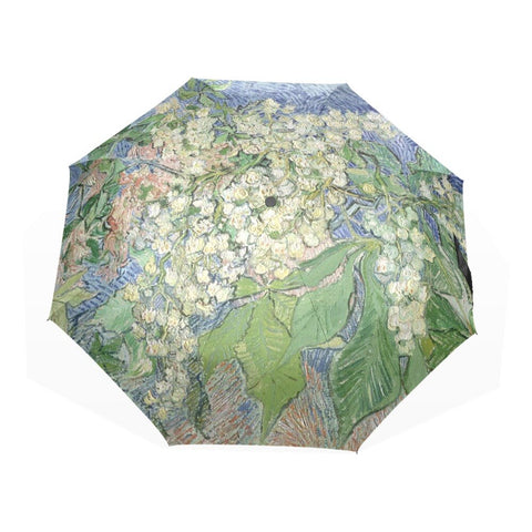Blossoming Chestnut Branches Pattern Umbrella Rain Women Sun Three Folding Automatic Female Summer Oil Painting Umbrellas