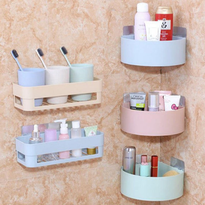 Bathroom Shelving Wall Corner Storage Rack Organizer Shower Shampoo Holder Toilet Suction Cup Storage Rack Bathroom Accessories