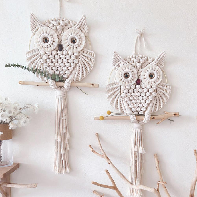 Owls Dream Catchers Cotton Macrame Wall Hanging Macrame Decor Hand-woven Owl Amulet Home Decoration Accessories