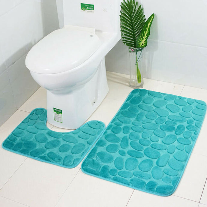 2pcs/set Funnel Cobblestone Bath Bathroom Anti-slip Carpet Mat Toilet Rug bathroom accessories