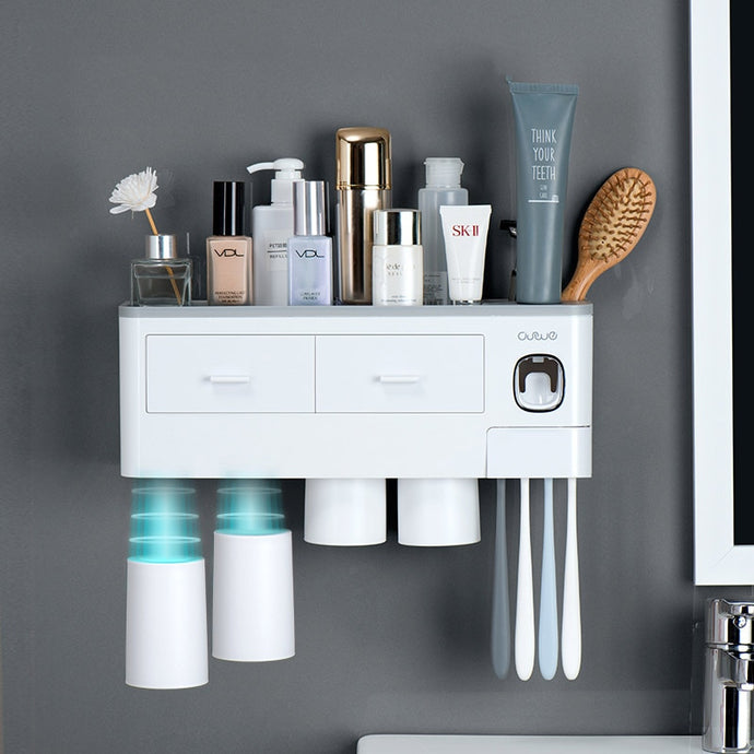 ONEUP New Toothbrush Holder Automatic Toothpaste Dispenser With Cup Wall Mount Toiletries Storage Rack Bathroom Accessories Set