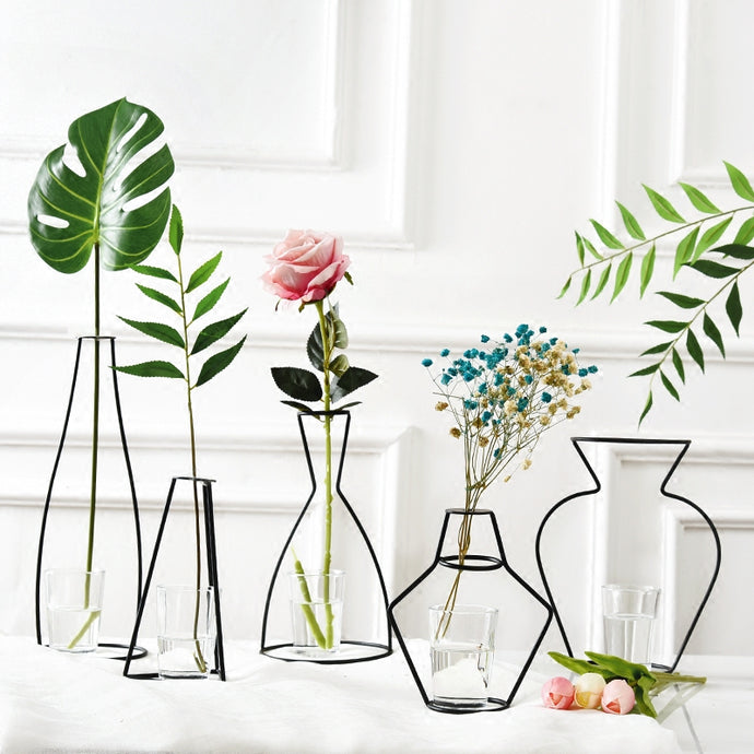 Nordic Iron Vases for Plants Shelving Flower Vase Garden Modern Creative Vase for New Year Decor Home Decoration Accessories