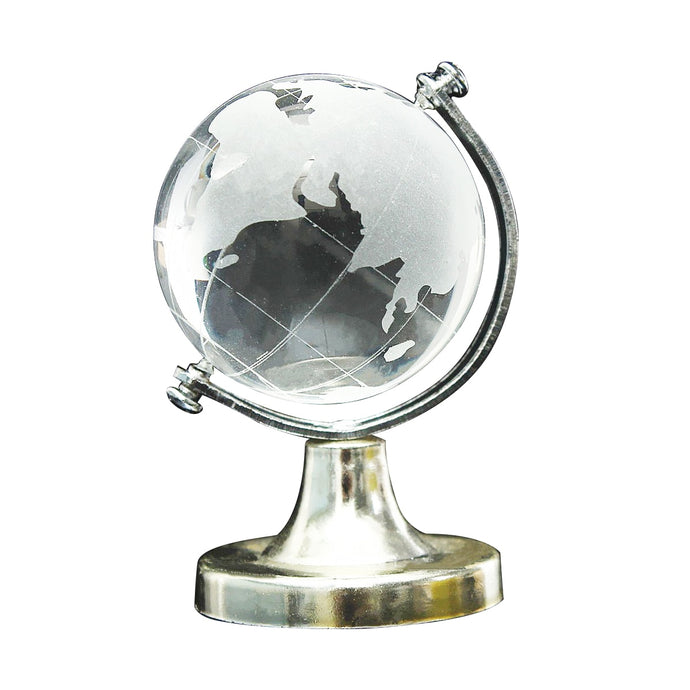 HOT Crystal Glass Frosted World Globe Stand Paperweight For office, home, desk decoration