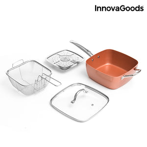 InnovaGoods Copper 5 in 1 Multifunktionspfannenset (4 Teile)