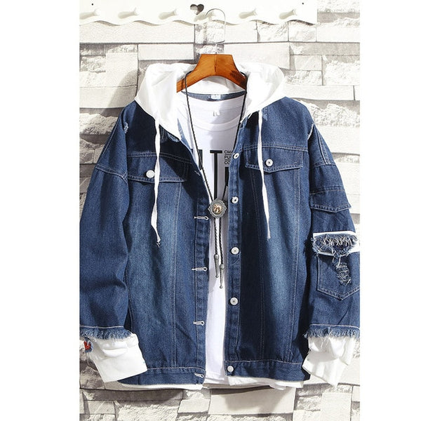 Men\'s Fashion Denim Jacket Men\'s Casual Bomber Jacket Men\'s Hip Hop Men\'s Retro Denim Jacket Jacket Streetwear 2019