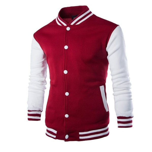 2019 New Men/Boy Baseball Jacket Men Fashion Design Wine Red Mens Slim Fit College Varsity Jacket Men Brand Stylish Veste Homme