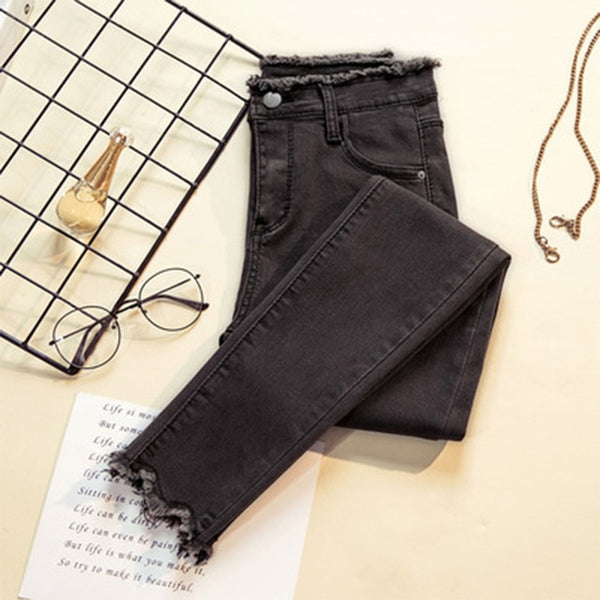 2019 Jeans Female Denim Pants Black Color Womens Jeans Donna Stretch Bottoms Feminino Skinny Pants For Women Trousers