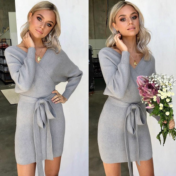 Autumn Winter Knit Rib Mini Women Dress Elegant Wrap V Neck Hollow Out Dress Women Casual Outwear Warm Party Dress Vestidos