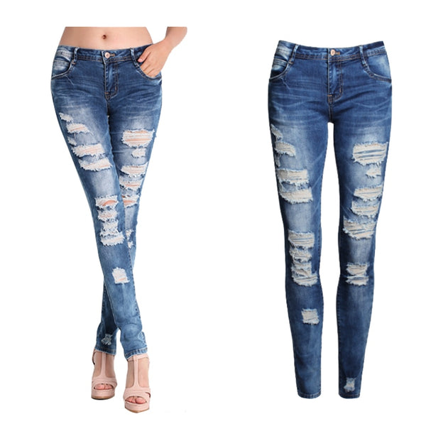 2017 New Women Jeans Female Blue Slim Ripped Jeans for Women Skinny Distressed Washed Stretch Denim Pants Femme Plus Size 2XL 50