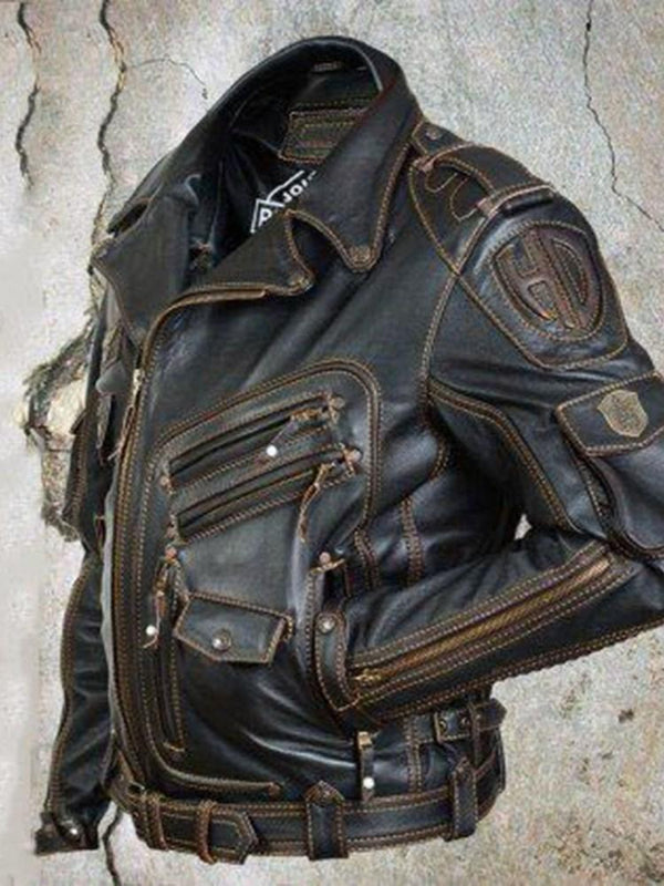 Standard Lapel Slim Casual Leather Jacket