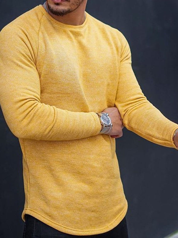 Plain Casual Round Neck Slim Long Sleeve T-shirt