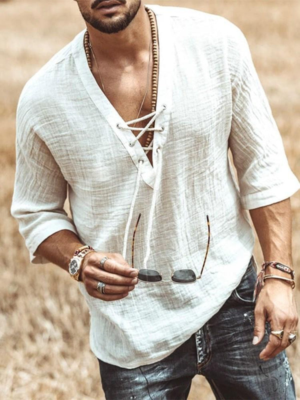V-Neck Casual Plain Loose Summer Shirt