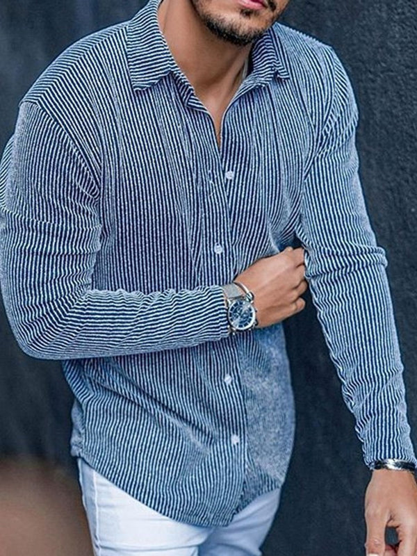 Casual Lapel Stripe Single-Breasted Slim Shirt