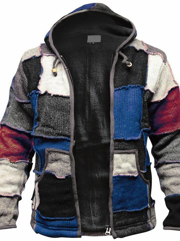 Color Block Hooded Patchwork Vintage Straight Jacket