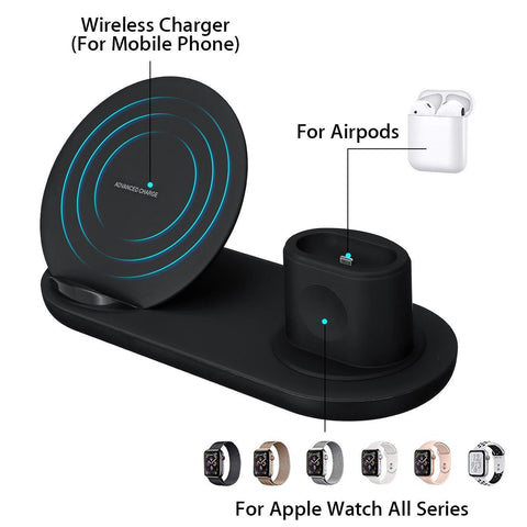 3n1 Wireless Charging Station for iPhone/Apple Watch/Air Pods 1.2/Smartphones/Android/Qi 10W. Free Worldwide Shipping!