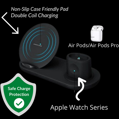 10W Fast Wireless Charging Station for iPhone/Android/AppleWatch/AirPods/Qi