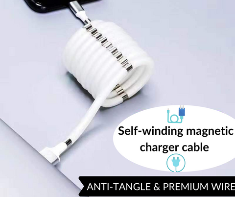 Magnetic Charging Cable USB Self Winding Absorption for iPhone/Android/Smartphone. Free Worldwide Shipping!