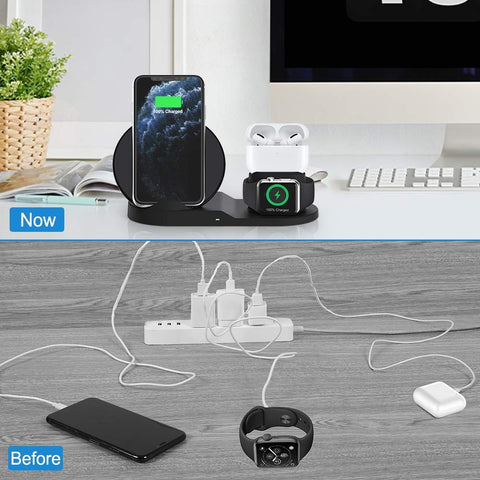 3n1 Wireless Charging Station for iPhone/Apple Watch/Air Pods 1.2/ 10W Qi Smartphones. Free Worldwide Shipping!