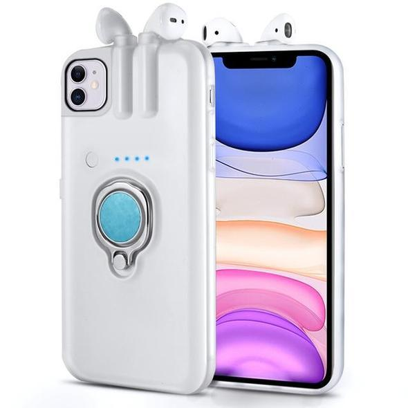 Air Pod Charging iPhone Case w/Magnetic Ring Holder for iPhones - Exclusive - LuxMo
