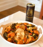 Roasted One Pot Chicken with Kale, Sweet Potatoes and Artichoke Hearts