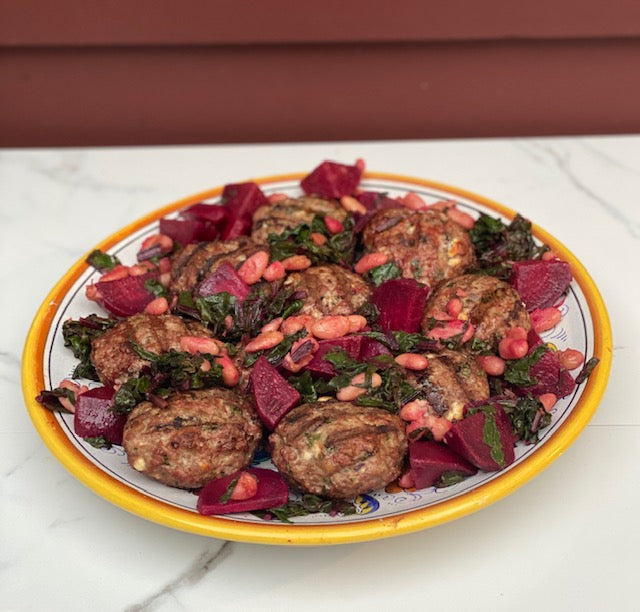 Lamb Sliders with Beets, Greens & Beans