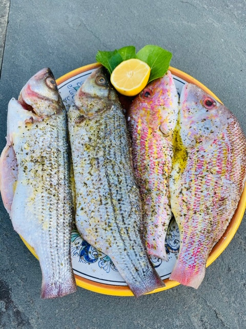 Mediterranean Grilled Whole Sea Bass & Red Snapper with EVOO, lemon, oregano and fresh herbs