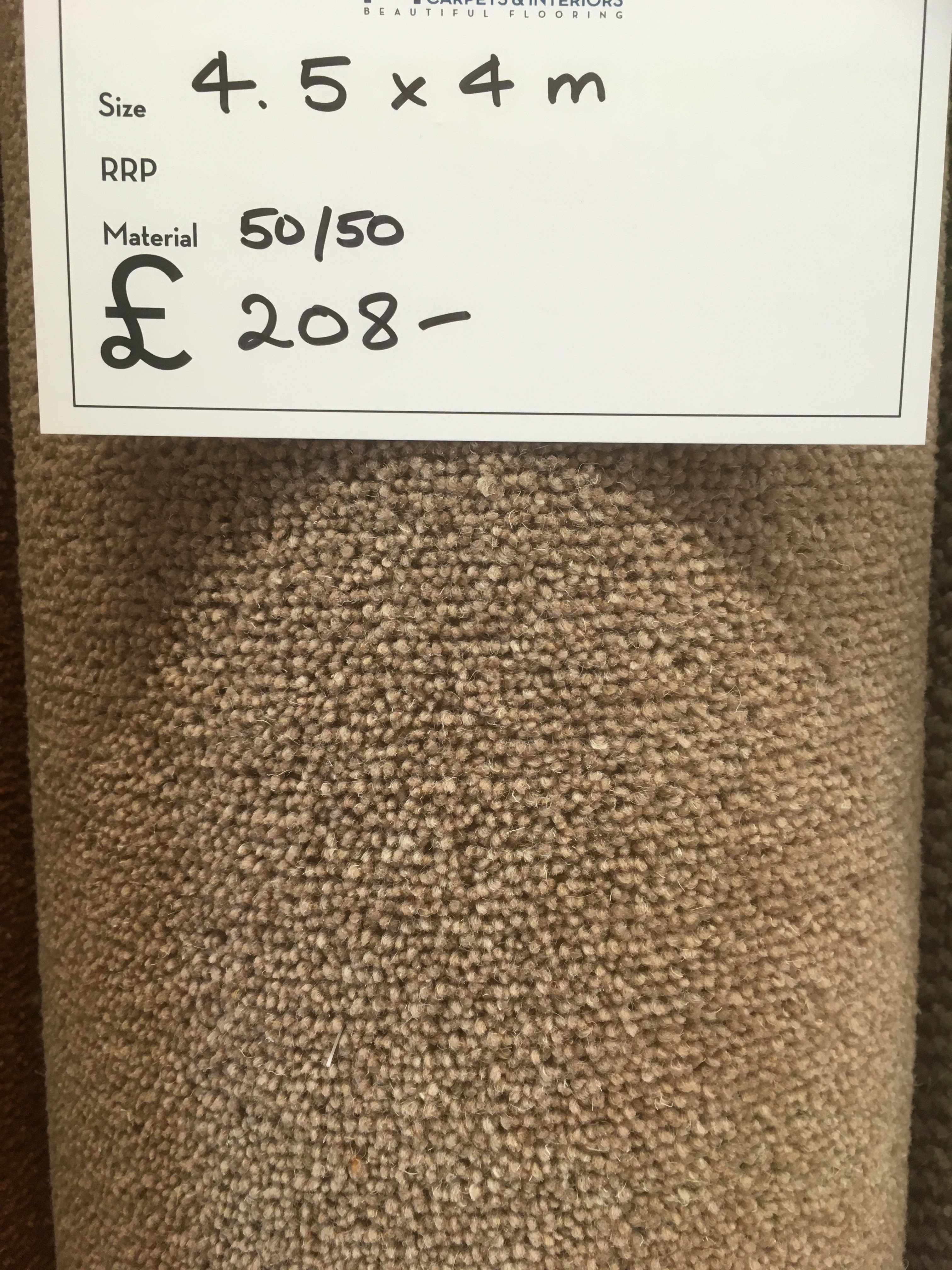 Pale Brown 50% Wool 4.5 x 4 m