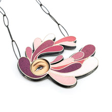 Load image into Gallery viewer, Plume Eye Necklace in Raspberry