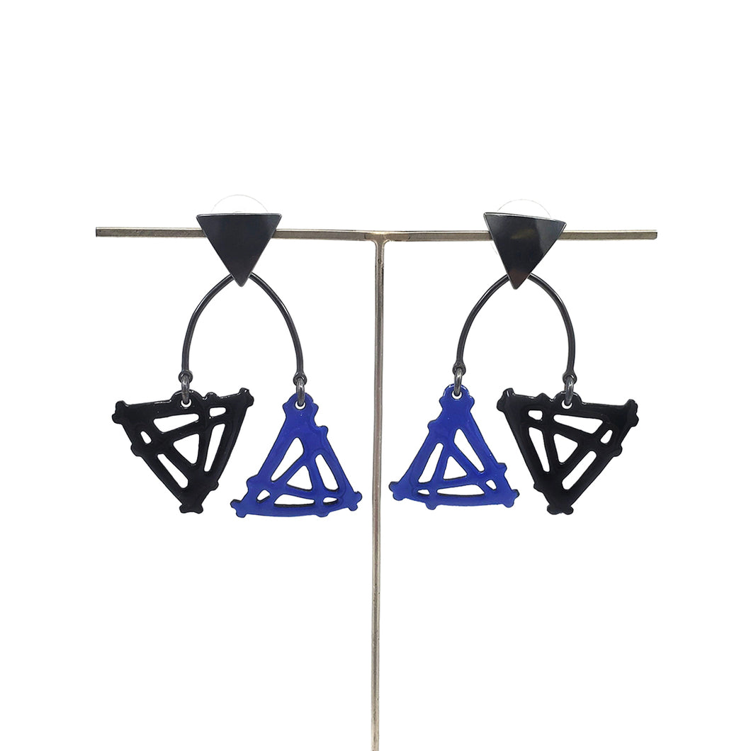 Double Triangle Earrings in Black and Ultramarine Blue with triangle post